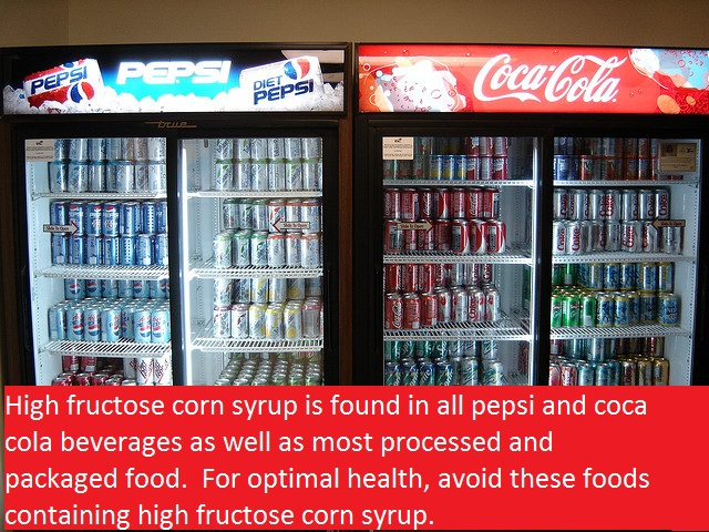 high fructose corn syrup is found in soda and most packaged processed food High Fructose Corn Syrup Dangers