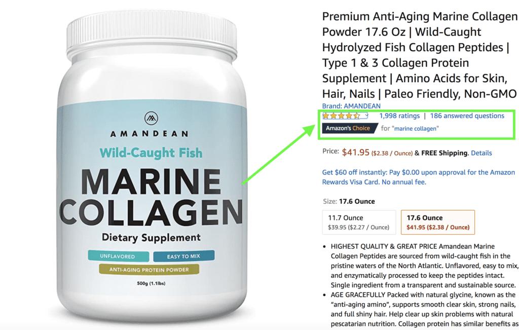 Amandean collagen powder supplement