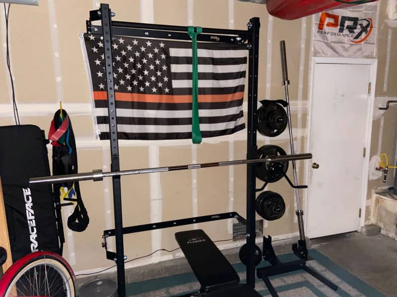 wall mounted squat rack garage gym setup