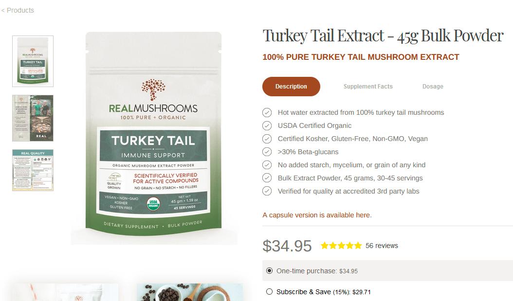Real Mushrooms Turkey Tail Mushroom Supplements